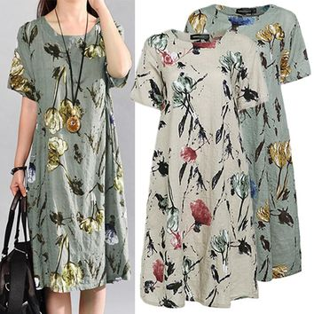 Celmia Women Summer Beach Dress Casual Short Sleeve Vintage Floral Print Pockets Loose Midi Dresses Plus Size Vestidos 5XL