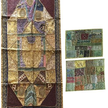 Embroidered Patchwork Tapestry Handmade Vintage Sari Wall Hanging Throw With Cushion Cover: Amazon.ca: Home & Kitchen