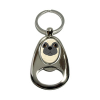 Pug - Dog Pet Spinning Oval Bottle Opener Keychain
