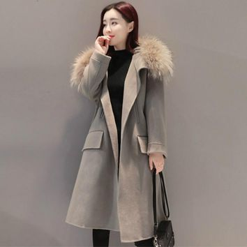 2017 Autumn Winter Women Coat Outerwear Long Wool Blends Fur Collar Vintage Coat Women
