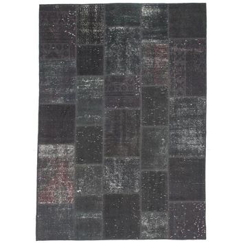"Pre-owned Charcoal /Pink Overdyed Patchwork Rug - 5'7""x7'10"""