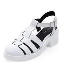 White Chunk Caged T-Bar Sandals