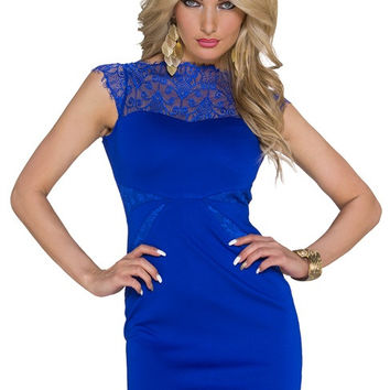 Blue Halter Neck Short Sleeve Lace Bodycon Midi Dress
