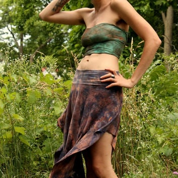 Bamboo pixie skirt asymmetric gypsy fairy tie dye psy wear maternity S, M, L