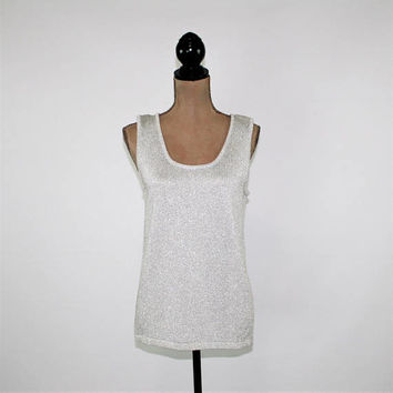 Metallic Silver Sleeveless Knit Top Dressy Sparkly Women Medium Scoop Neck Sleeveless Sweater Tank Top Cache Vintage Clothing Women Clothing