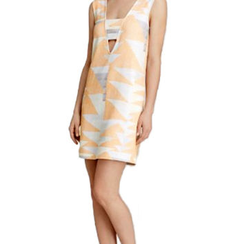Mara Hoffman Ponte V-Neck Mini Dress in Loom Peach