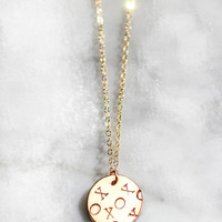 XOXO LARGE DISC NECKLACE - Christine Elizabeth Jewelry