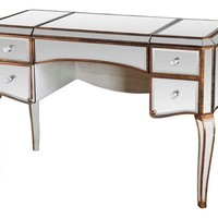 Jewelry Desk With Mirrored With Gold Trimmings - Contemporary - Bedroom & Makeup Vanities - by Furniture Import & Export Inc.