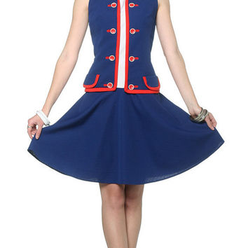 60s Mod Dress Red White Blue 1960s Mini Navy Drop Waist by oldage