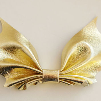 Genuine leather bow tie - Gold leather bow tie - Womens bow tie - Mans Bat bow tie - Christmas gift - New Year - Party