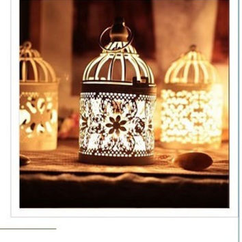 Metallic Moroccan Lantern Style Candle Holder for Home Decoration.