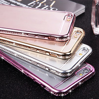 For iPhone 7 Case Luxury Glitter Bling Rhinestone Diamond Soft TPU Case For iPhone 7 Plus 6S Plus 6 Plus 6 6S 5 5S Phone Cases