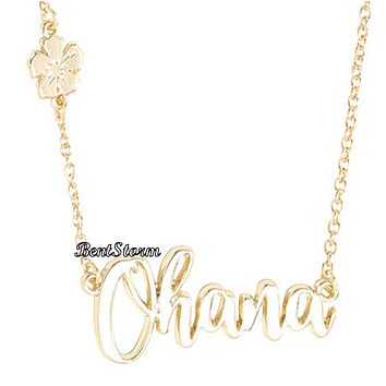 "Licensed cool Disney Lilo & Stitch OHANA ""Family"" Cursive Name Plate Gold Tone Necklace NEW"