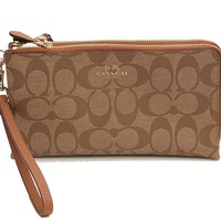 Coach Signature Double Zip Wallet