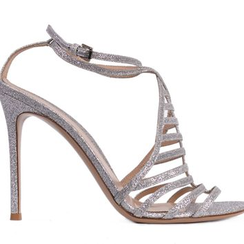 Gianvito Rossi Womens Silver Glitter Caged Sandal Heels