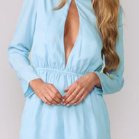 Chiffon Chest Cut-Out Long Sleeve Romper