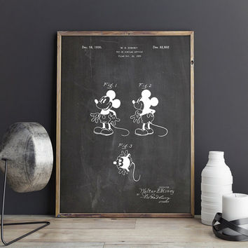 Mickey Printable, Disney Blueprint, Mickey Disney Poster, Mickey Blueprint, Disney Mascot Print, Mickey Mouse Art, Disney, INSTANT DOWNLOAD