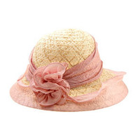 Modish Flax Mesh Cloth Elegant Sun Hat with Pink Flower,Modish Sun Hat