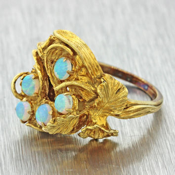 1960s Vintage Estate 14k Solid Yellow Gold Chunky Opal Cluster Flower Ring 9g