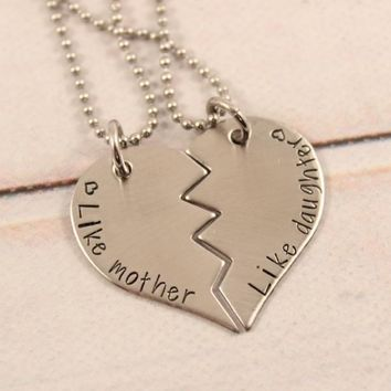 """Like Mother, Like Daughter"" Stainless Steel Sisters Broken Heart Necklace Set - READY TO SHIP"