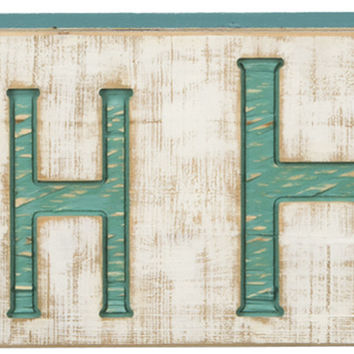 Jumbo Vintage Carved Beach House Sign with Rough Painted Finish and Blue Letters - 47-in