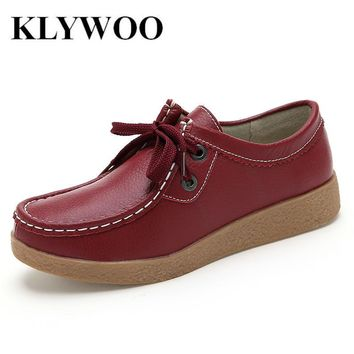 Spring Autumn Women Platform Shoes Genuine Leather Shoes Oxford Women Fashion Comforta