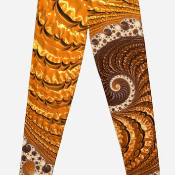 'Fractal spiral golden and luxe' Leggings by mhfoto