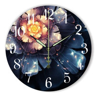 Beautiful Flowers Decorative Wall Clock For Living Room Warranty 3 Years More Quiet Home Watch Wall Bedroom Wall Decor Gift