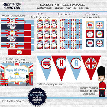 Boys London Birthday Decor Package, Printable English party supplies, Royal celebrations, London Prince birthday kit - navy, blue, red