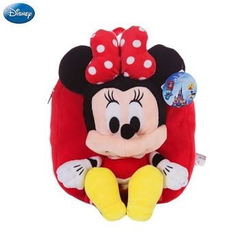 Genuine Disney Backpack Mickey Mouse Minnie 25cm Plush Cotton Stuffed Doll Kawaii Kindergarten bag Christmas Gifts Toy For Kids