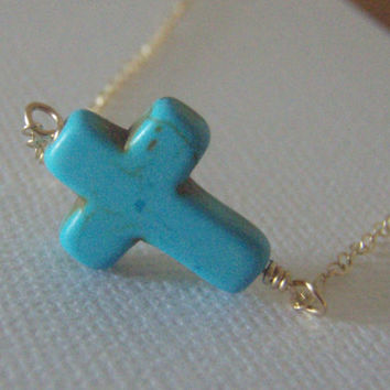 SALE Sideways Cross Necklace Gold Filled Turquoise by West9th