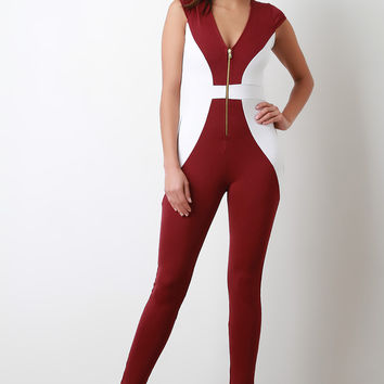 Colorblock V Neck Cap Sleeves Jumpsuit