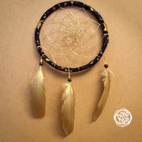 NEW YEAR SALE! - Dream Catcher - Golden Star - With Golden Web and Painted Golden Feathers - Home Decor, Mobile