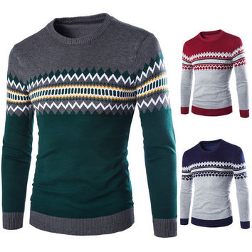 Mens Patterned Pullover Sweater