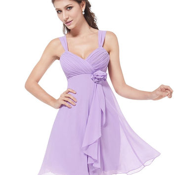 Chiffon Lavender High-waist Vest Dress