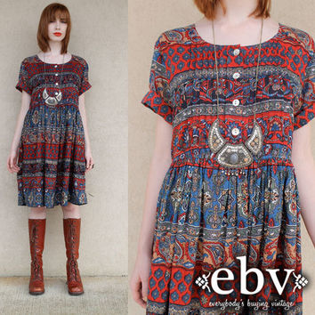 Vintage 90s does 70s India Hippie Boho Festival Cotton Tent Mini Dress S M L