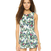 Floral Leaves Print Sleeveless Jumpsuit
