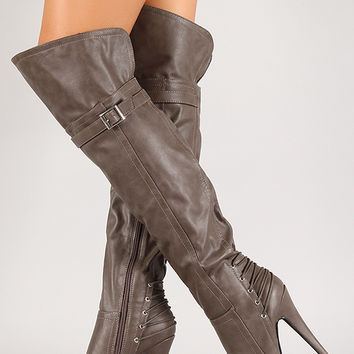 Anne Michelle Realove-25 Corset Thigh High Platform Boot