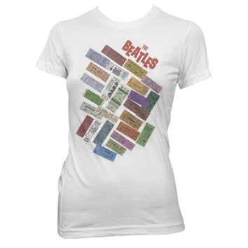 The Beatles Ticket Stack - Womens White T-Shirt