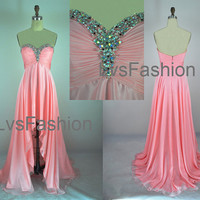 Strapless Sweetheart With Crystal Front Short Long Back Pink Chiffon High Low Prom Dresses, Evening Gown, Evening Dresses, Party Dresses