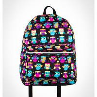 Mojo Multi Color Owl Print Backpack