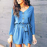 Summer new women's long-sleeved V-neck casual jumpsuit(Only one piece)
