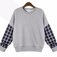 Plaid Cuff Sleeve Sweatshirt