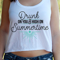 Drunk On You | Flowy Crop Tank Top