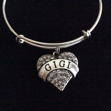 Gigi Silver Crystal Heart Charm Bangle Adjustable Expandable Meaningful Gift Grandmother Gift