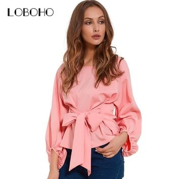 Chiffon Wrap Blouse Women Shirts Spring Fashion Lantern Long Sleeve Blouses With Bow Belt Loose Casual Tops Womens Clothing