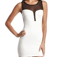 Mesh Inset Scuba Body-Con Dress: Charlotte Russe