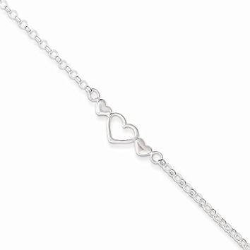 Sterling Silver 10inch Polished Triple Heart Anklet, Best Quality Free Gift Box Satisfaction Guaranteed