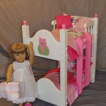 Doll Bunk Bed Fits American Girl Doll and 18 inch Dolls with 10 Piece Adorable Owl Bedding
