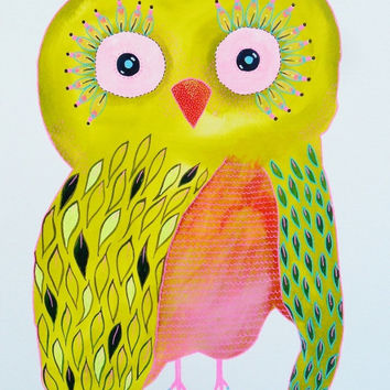 Owl Painting - Owl Print - Baby Owl Painting - Yellow Owl - ArtBeatriceM - Colorful Owl - Owl Art - Cute Owls - Art for Nursery - Baby Owls